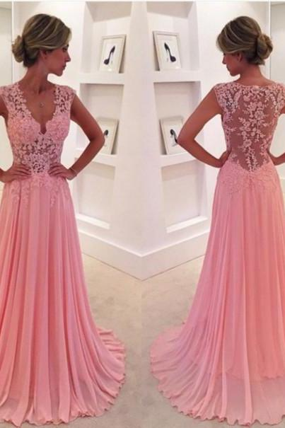 2016 Beautiful V-neck Pink Lace Chiffon Long Prom Dress, Ball Gown, Modest Prom Dress