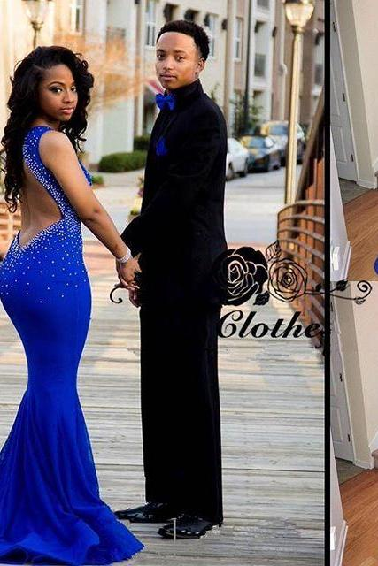 Backless Prom Dresses,Open Back Prom Gowns,Royal Blue Prom Dresses 2016,2016 Prom Dresses,Chiffon Open Backs Prom Gown,Fitted Prom Dress