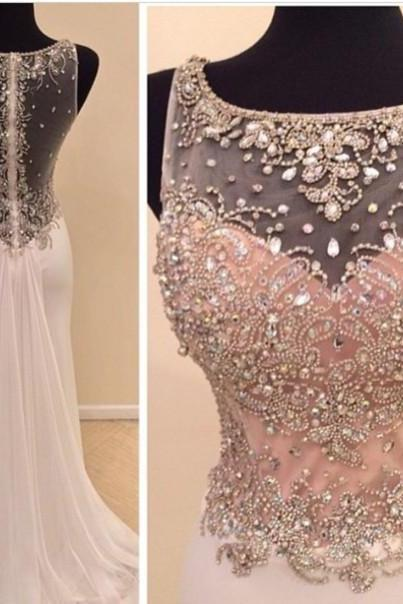 2016 Real Made Beads Prom Dresses, Charming Floor-Length Prom Dresses, Sexy O-Neck Prom Dresses, A-Line Sequins Prom Dresses, Charming Backless Evening Dresses, Evening Dresses