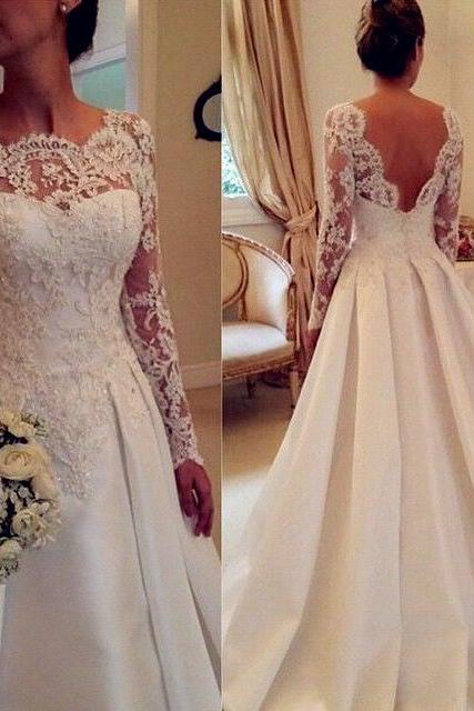 Newest Long Sleeve Wedding Dresses,A-Line Lace Wedding Dresses, Backless Wedding Dress,Wedding Dresses, Dresses For Wedding