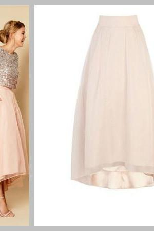 New Arrival High Low Quality Skirt, Long Skirt,Chiffon Skirt,Charming Women Skirt,spring Autumn Skirt ,A-Line Skirt