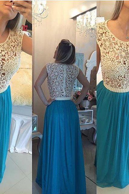 Ivory Lace Blue Prom Dresses 2016 ,Pearls See Through Prom Dress,Sexy Long Evening Dress, Graduation Dresses, Wedding Party Gowns
