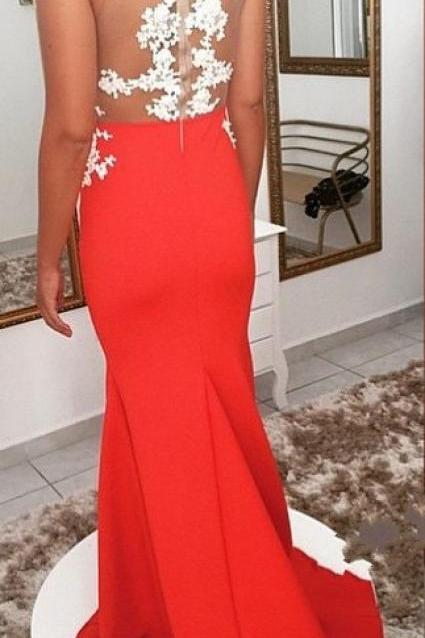 New Arrival Appliques Prom Dress,See Though Prom Dress,Red Evening Gowns,Satin Prom Gown,Formal Women Dress, Red Prom Dresses