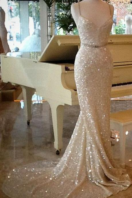 Shining Champagne Sequins Long Train Evening Dress, Prom Dresses,Champagne Prom Dresses, Sequins Evening Dresses, Party Dresses, Evening Dresses, Formal Dresses, Wedding Dresses