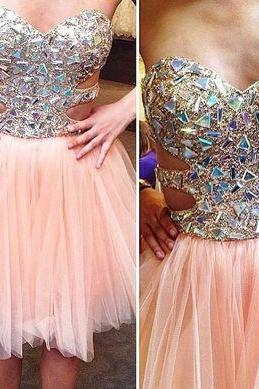 Pink Sequined Top Chiffon Dress, Sparkly Pink Strapless Prom Dress, Pink Chiffon Beaded Homecoming Dress, A-Line Graduation Dresses,Homecoming Dress,Short/Mini Homecoming Dress