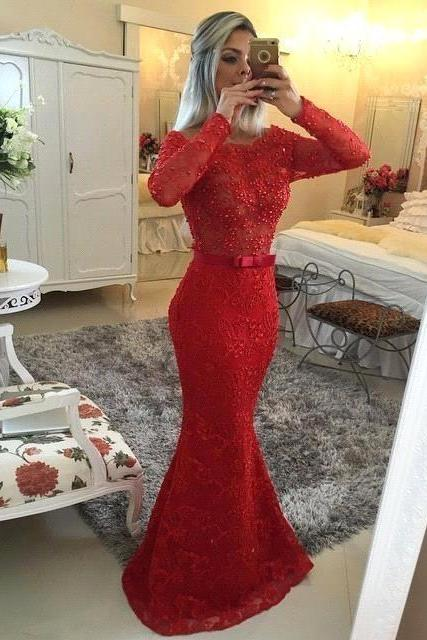 Sexy Red Lace Long Sleeve Prom Dresses, Mermaid Prom Dresses 2016, Boat Neck Beaded Sashes See Through Back Long Evening Party Dresses, Evening Dresses, Formal Dresses