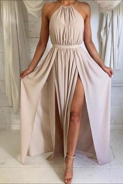 Sexy Halter Backless Formal Dress, Long Prom Dress, Evening Dress, Simple A-Line Backless Prom Dress