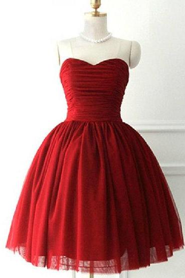 Burgundy Red Homecoming Dress,Short Prom Dresses,Tulle Homecoming Gowns,Wine Red Prom Gown,Simple Cocktail Dress,Ball Gown Homecoming Dress 2016 For Teens