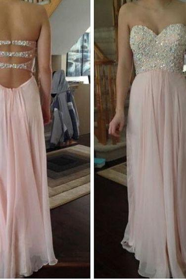 Charming Prom Dress,A-Line Prom Dress, Pink Prom Dresses, Beading Prom Dress,Chiffon Prom Dress,Sweetheart Evening Dress