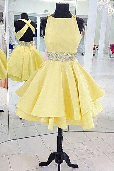 Beauty Graduation Dress,Short Prom Dress,Satin Homecoming Dress,Beading Prom Dress, Short Homecoming Dresses