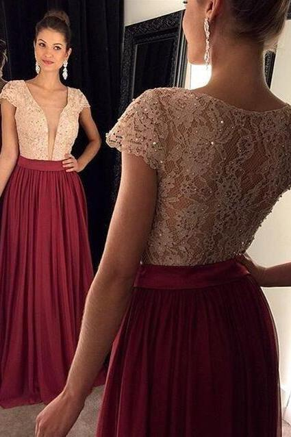 Charming Burgundy Prom Dresses,Lace Evening Dress,Prom Gowns With Sheer Sleeves,A-line Prom Gown,Beautiful Lace Formal Gown