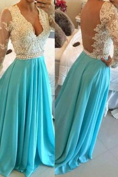 New Sexy Bead Long Sleeves V-neck Chiffon See-through Evening Dress, V-neck Chiffon Blue Backless Prom Evening Dress With Long Sleeves