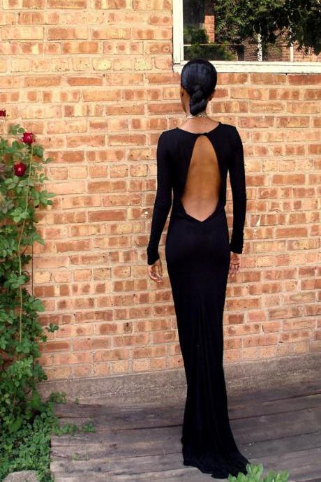 Black Backless Full Length Gown, Black Prom Dress, Black Formal Dress, Long Sleeves Prom Gown, Black Evening Dress
