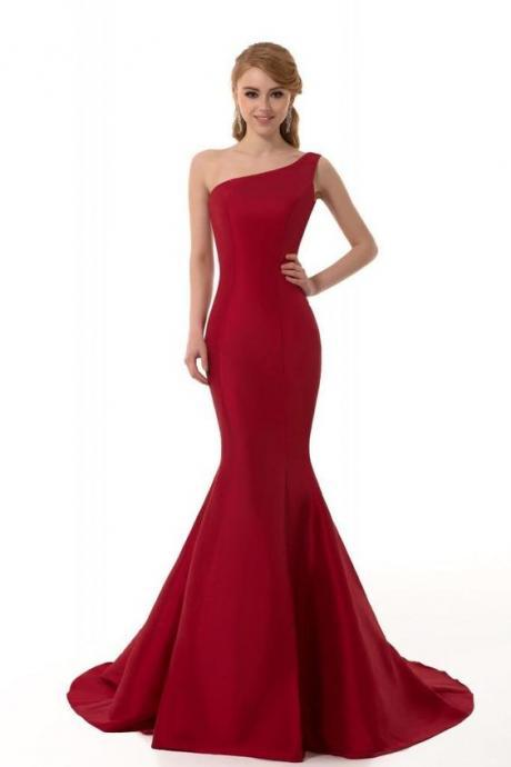 Mermaid Prom Dresses, Formal Dresses, Brief Elegant Burgundy Prom Dress, Mermaid Evening Dress, One-Shoulder Evening Dress