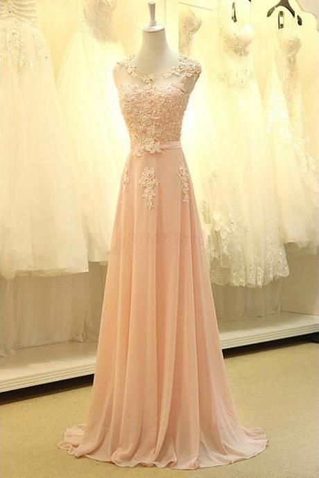 Gorgeous A-line Chiffon Floor-Length Appliques Long Evening Dress Prom Party Dresses Peach Prom Dress