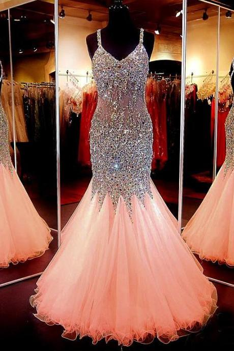 Chic Tulle Spaghetti Straps Neckline Floor-length Mermaid Prom Dress, Stunning Beaded Prom Dresses, Gorgeous Graduation Dresses