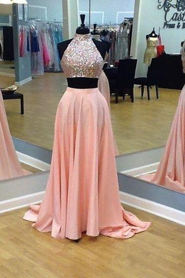 Custom made 2 Pieces Prom Dresses, Long Prom Dress, Sexy Prom Dress, Hot Prom Dress, Pink Prom Dress, Affordable Prom Dress, Junior Prom Dress,Formal Evening Dresses Gowns, Party Dresses