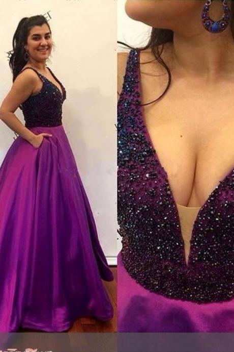 Long Evening Dresses 2016 V-Neck Sleeveless Backless Sweep Train Satin with Beaded Formal Dresses Sexy Party Dress Custom Made