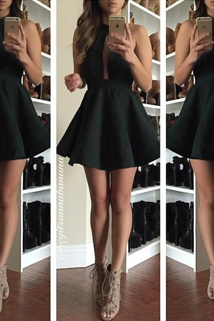 Cute Little Black Dresses, Black Prom Dress, Short Prom Dress, Black Dress, Cocktail Dresses, Dress for Girls, Black Homecoming Dresses, Simple Satin Prom Gowns
