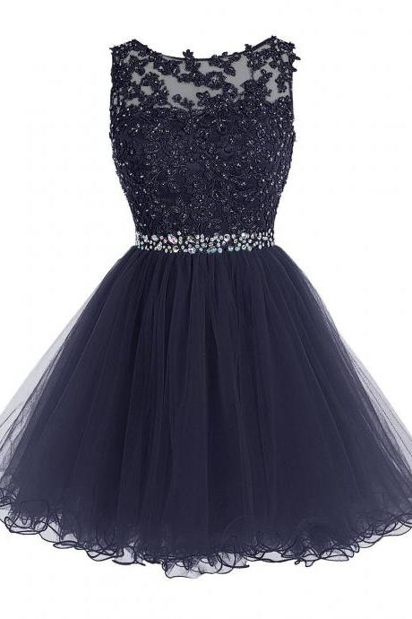 2016 Luxurious Sweetheart Short Homecoming Dress, Crystals Appliques Royal Blue Prom Gowns For Teens, New Arrival Tulle Prom Dress,Beaded Homecoming Dress,Short Homecoming Dress,Homecoming Dresses,Graduation Dress