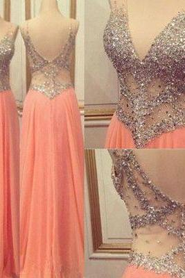 V-Neck Sexy Prom Dresses,Pink Long Chiffon Prom Dresses,Evening Dresses, Peach Prom Dress, Beading Prom Dress, Prom Dress for Teens