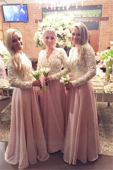 New Arrival Long Sleeves Lace Bridesmaid Dresses, V-Neck Beaded Prom Dresses, Formal Dresses, Modest Bridesmaid Dresses, Chiffon and Lace Prom Gowns, Wedding Party Dresses, Prom Dress for Weddings and Evening Events