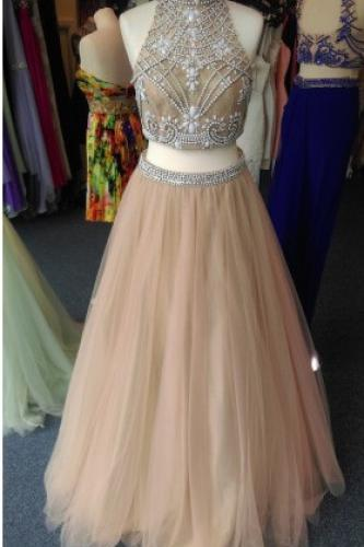 Real Made Prom Dresses, Two Pieces Prom Dresses, Long Prom Dresses 2016, Hign Neck Sheer Neck Prom Dress,Sleeveless Backless Prom Dresses,Crystal Champagne Party Gowns