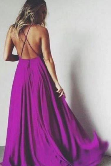 Charming Prom Dress,Spaghetti Strap Prom Dress,Backless Prom Dress,Satin Prom Dress,A-Line Evening Dress, Purple Prom Dress Backless, Blue Prom Gowns