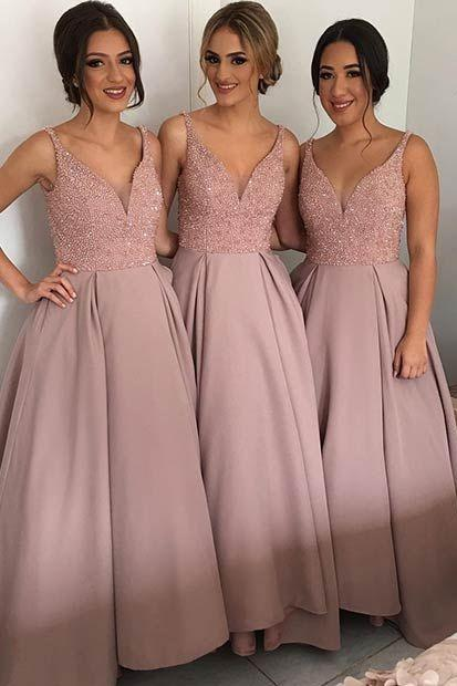 V-Neck Beading Bridesmaids Dresses, Sexy Mismatched Bridesmaid Dress, Cheap Bridesmaid Dresses,Bridesmaid Dresses, Beading Prom Dress