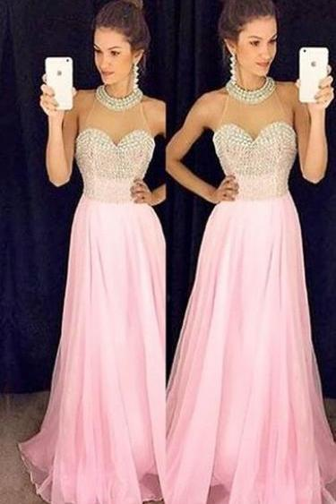 Charming Prom Dress,Sexy Evening Prom Dress,Pink Chiffon Prom Dress,Halter Prom Dress