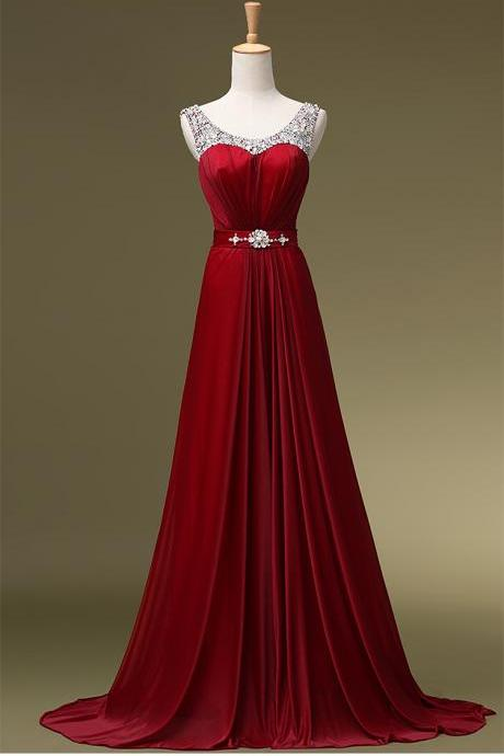 Beaded Embellished Scoop Neck Sleeveless Red Chiffon Floor Length A-Line Formal Dress, Prom Dress