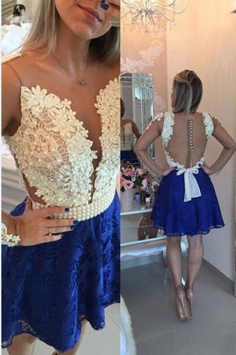 Cute Short Homecoming Dress, Royal Blue Lace Homecoming Dress, Homecoming Prom Dress, Short Prom Dress, Lace Homecoming Dress, Beaded Homecoming Gowns, Short Evening Dress