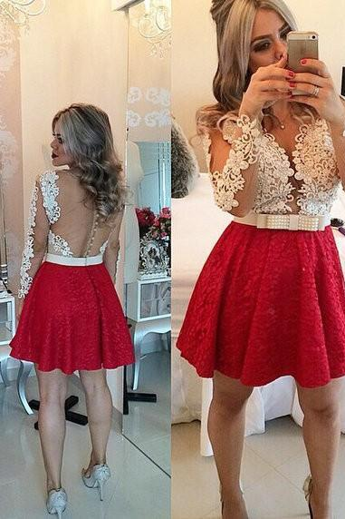 Sexy Short Homecoming Dress, Red Lace Beaded Homecoming Dresses,Long Sleeves Homecoming Gowns,Backless Party Dress,Short Prom Dresses,Sweet 16 Dress,Party Gowns