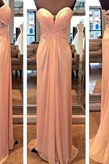 Charming Sweetheart Long Chiffon Prom Dress Lace Evening Dress Party Dress, Sexy Backless Prom Dress
