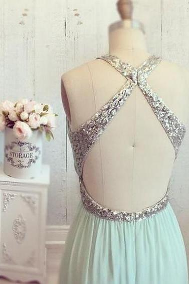 Halter Chiffon Mint Long Prom Dress For Women, Party Dress, Elegant Dress, Mint Prom Gown, Long Prom Dress, Cheap Prom Dresses