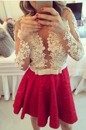 Sheer Beaded Short Homecoming Dresses, Lace Long Sleeves Homecoming Dress, Red Homecoming Gown, Red Lace Pearls Beaded Party Dress, Short Dress for Prom