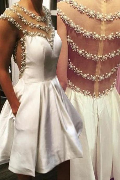 Illusion Back Short Homecoming Dress, Exquisite Beading Homecoming Gown, Ivory Homecoming Dress BeadesPearls with Pockets, Short Prom Dresses, New Senior Homecoming Dresses