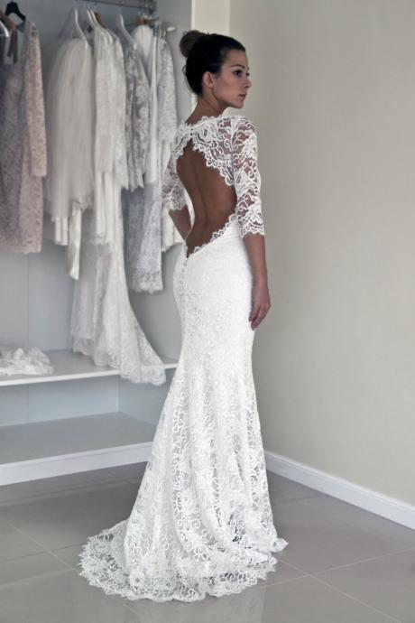 Keyhole Back Wedding Dress,Trupet Wedding Dress with Sleeves, Corded French Lace Wedding Dress, Illusion Neckline Lace Dress, Robe de Marriage