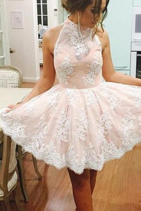New Arrival Short Prom Dress, High Neck Homecoming Dress, Tulle Homecoming Dress,Lace Appliques Homecoming Dress,Backless Graduation Dress,Party Dress