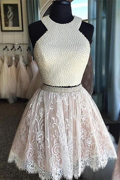 Lace Homecoming Gown,Tulle Homecoming Gowns,White Homecoming Dress,Ball Gown Party Dress,Short Prom Dresses,Lace Formal Dress For Teens, Graduation Dresses