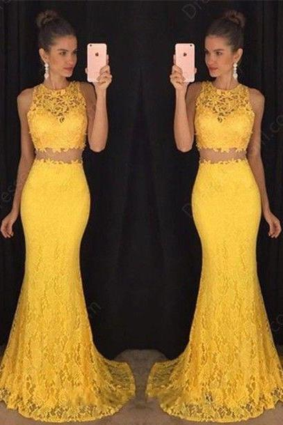 Sexy Two Piece Prom Dresses 2016, Yellow Lace Prom Dress, Sexy Sleeveless Evening Dress,Sexy See Through Prom Dress, 2 Piece Prom Gown