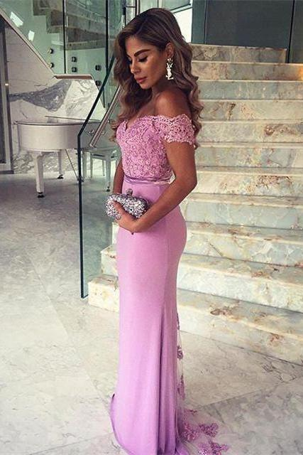 Elegant Lace Appliques Mermaid 2016 Prom Dress, Off-the-shoulder Prom Dress with Sweep Train, Woman Dresses, Charming Formal Dress, Prom Dress for Weddings