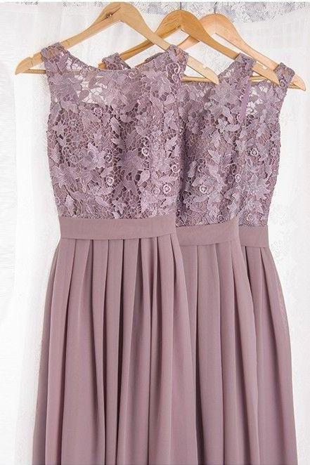 Dramatic Vintage Lace Bridesmaid Dresses with Flowing Chiffon Skirt, Lace and Chiffon Bridesmaid Dress, Modest Bridesmaid Dresses, Long Chiffon Bridesmaid Dresses, Light Purple Bridesmaids Dresses, Wedding Party Dresses