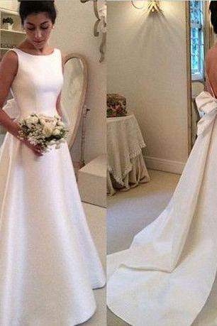 Classic Satin A Line Formal Wedding Dress, Simple Wedding Dress, New Satin Backless with Bowknot Wedding Dresses, Elegant Vintage Women Wedding Gown 2016