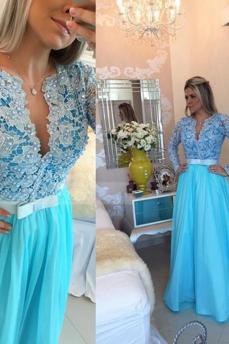 Charming Blue Lace and Chiffon Prom Dress, Beading Prom Dress, Long Prom Dress With Long Sleeves, Evening Party Dresses