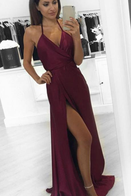 Modest Prom Dresses,Sexy New Prom Dress,A-Line Burgundy Prom Dress slit, Formal Occasion Dresses, Sexy Evening Gown, Party Dress