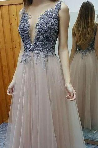 Long Prom Dress,Backless Prom Dresses, Sexy Prom Dresses,Tulle Sleeveless Evening Dress, Lace Tulle Prom Dress, Deep V Neck Prom Dress, Sexy Slit Prom Dress, Formal Party Gown
