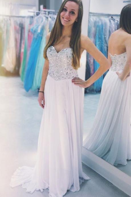 Sequined Prom Dresses, Long Prom Dress, Sweetheart Pretty Prom Dresses,Strapless Prom Dresses,Chiffon Prom Dresses,A-Line Prom Dresses