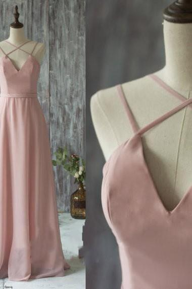 Charming V Neck Spaghetti Strap Prom Dress, 2016 Long Chiffon Bridesmaid Dress Straps, Blush Wedding Dress, Evening Gown Floor Length