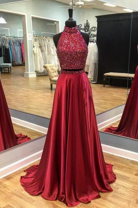 Two Pieces Prom Dresses, 2017 Prom Dresses, Long Prom Dress, Charming Prom Dresses, Real Made Prom Dress, Long Party Dresses